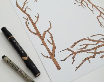 collaborative art print | The Vie | hand designed museum quality print | custom hand lettering | branches | archival paper | 8x10 or 11x14