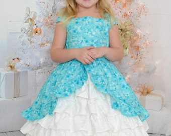 Winter Wonderland Elsa ruffles snowflake dress
