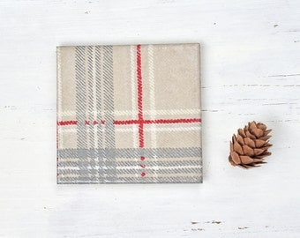 Plaid Coasters Tile Drink Coasters Beige Grey Rustic Tartan Cabin Cozy Woodland Winter Christmas Gift Hostess Gift for Him