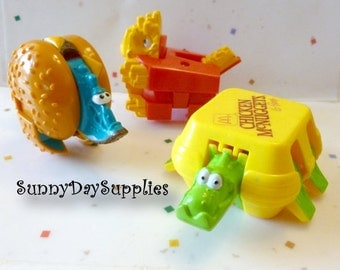 Vintage McDonalds Happy meal Toys, Chicken McNuggets, French Fries and Cheeseburger, 1988, 3 in lot, Food Toys