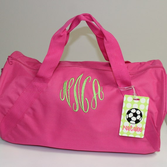 Monogrammed overnight bag pink duffle personalized
