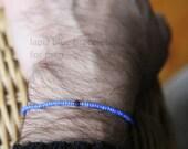 lapiz blue bracelet for men - mens small bead bracelet with vintage blues and lapis lazuli - Maria Helena Design