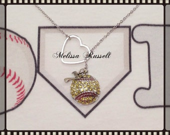 Softball Necklace with Rhinestones and Heart and number, handmade jewelry, birthday gift, christmas gift, athletic sports gift, mom