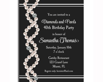 Diamonds and Pearls Invitation Printable - Birthday, Bridal Shower, Bachelorette Party  - ANY Wording
