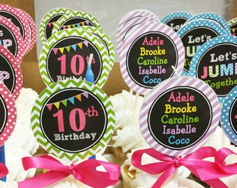 JUMP Personalized Cupcake Toppers Printable or Assembled - Trampoline, Bounce House, or Jump Party - JUMP Flags Collection