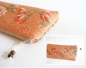 Orange Floral Clutch, Wedding Purse, Bridesmaid Gift Bag, Mothers Gift, Women Rustic Wallet