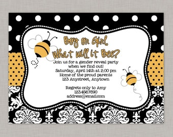 Bumble Bee Gender Reveal Invitation, Bee Gender Reveal, Printable