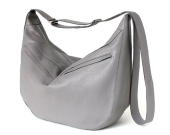 Genuine Leather Big Hobo Bag Stone Grey with Cotton Lining, removable leather key strap, shoulder bag, crossbody bag