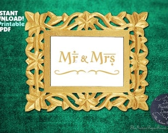 PRINTABLE Mr & Mrs Sign DIY Indian Wedding Decor Gold Calligraphy Instant Download 5x7 8x10 Signage Table Setting Online Idea Template Cheap