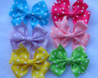 Polka Dot Hair Bows~Boutique Hair Bows~Hair Bows for Girls~Hair Bows~Baby Hair Bows~Small Hair Bows~Birthday Hair Bows~Hairbows~Boutique Bow