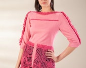 Reserved for Diana Pink sweater,  jersey sweater with crochet parts, pink and fuchsia sweater, tail sweater, lace back sweater