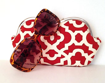Red and Ivory large sunglass case or small clutch