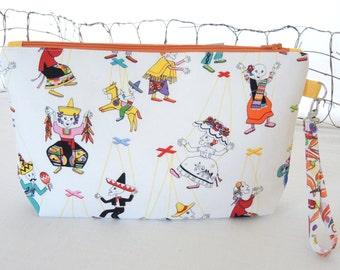 OOAK Zipper Wristlet Clutch Bag: Day of the Dead Calavera Skeleton Marionettes