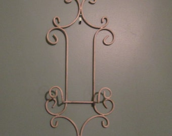 Shabby Chic White Wall Rack / Vintage Plate Display Holder / Picture Holder / Towel Rack