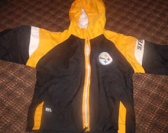 vintage childs childrens hooded jacket pittsburgh steelers football