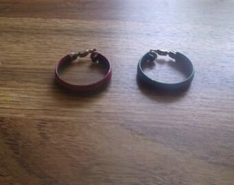 vintage clip on earrings red green black metal hoops