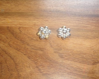 vintage clip on earrings silver bead clusters