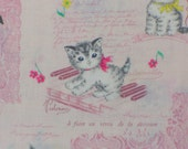 Dear Little World / Kittens with Music  /  Kitten Music Time / Japanese Fabric / Vintage style Kittens  / Pale Pink / By the Yard