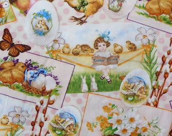 Easter Fabric / Victorian Spring  / Vignettes / Collage / Rabbits, Chicks. & Ducks / Vintage Easter / By the Yard