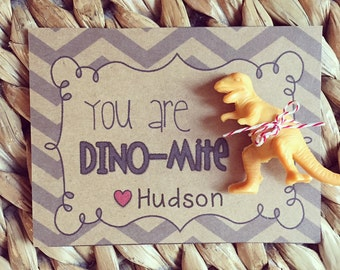 Valentine PRINTABLE- You are dino-Mite Valentine! (INSTANT DOWNLOAD) by SweetTeaPaper
