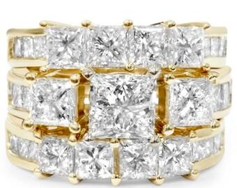 Princess Cut Yellow Gold Diamond Engagement Ring 4.30CT Princess Cut Diamond Engagement Wedding Ring Guard Band Set 14K Yellow Gold