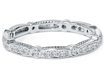 VS/SI 3/4CT Stackable Diamond Eternity Ring 14 KT White Gold Womens Wedding Anniversary Band