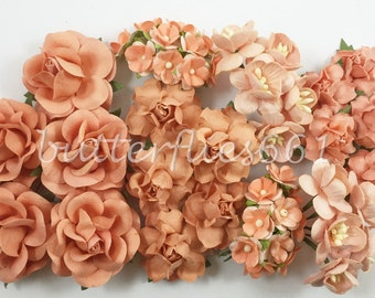 45 Handmade Mulberry Paper Flowers Mixed Sizes of Peach Wedding Roses