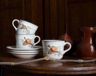 Vintage Irish Arklow Tea Cups With Saucers. Rustic Romantic Kitchen Decor. Pheasant Motif. Made in Ireland.