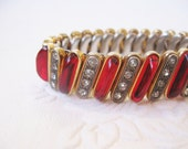 super rare ruby red glass and rhinestone gold expandable bracelet
