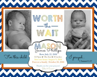 Blue Chevron Adoption Baby Announcement