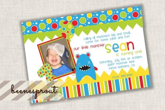 Blue Little Monster Birthday Invitation