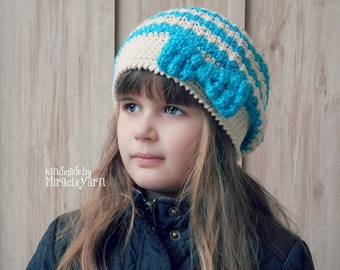 Crochet Pattern for Bella Slouch Beanie Hat with Bobble Bow - 8 sizes, preemie/doll to large ...