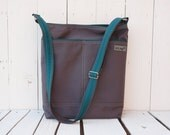 Canvas Changing bag, Emerald green Diaper bag, Messenger Cross Body, Unisex tote bag, charcoal grey laptop carrier, handmade gift for men