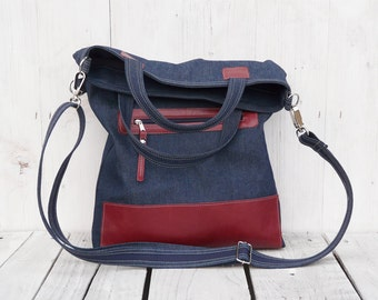 Canvas leather tote bag ~ Messenger foldover crossbody carrier, adjustable strap and handles, zipper pocket, unique gift for women
