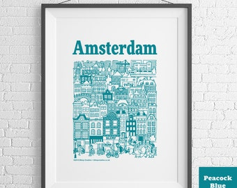 Amsterdam Hand-Illustrated Screenprint (3 colours available)