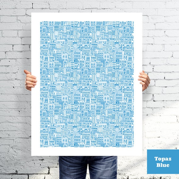 Hand Drawn City Scape Pattern Screen Printed