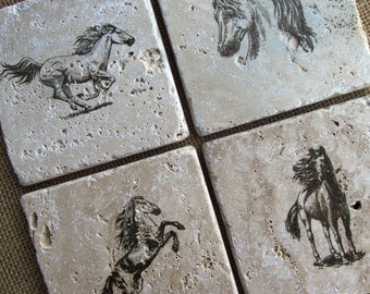 Natural stone coaster.  Horse Coasters.  Set of Four Coasters. Wedding gift. Birthday Gift. Rustic Decor.  Gift.