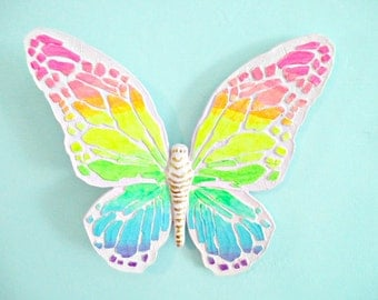 Neon Pastel Butterfly Wall Hanging - Vintage Homco 3-D - Hand Painted Pink and Rainbow