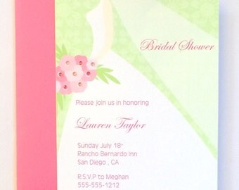 Bridal Shower Silhouette Invitation, Bride-to-be, Bridal Shower Invite, Bride Silhouette with Bouquet, Pink Floral Bouquet, Bridal Gown