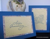 Set of two unisex...embossed Get Well and Happy Anniversary cards