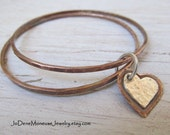 Copper bangles,sterling silver and copper hand cut heart charm,valentine,metalsmith jewelry,hand fabricated,mixed metal, mom personalized