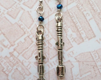 Steampunk Victorian Silver Sonic Screwdriver Earrings with Tardis Blue bead