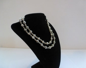 Vintage Double Strand Necklace Pretty Rose Bead Necklace Vintage Necklace