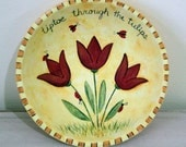 Hand Painted Wooden Bowl  Folk Art Easter Spring Whimsical Style Wooden Bowl Tiptoe Through the Tulips, Red Tulips, Ladybugs,Pastels,  OOAK