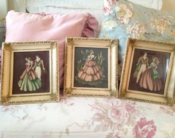 Collection of Vintage Shabby Cream Ornate Picture Frames
