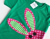 Pink and green Bunny Shirt, Girls Easter Shirt