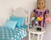 """Classic Elena bed with aqua blue chevron for the 18"""" American Girl doll"""