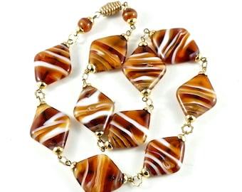 VENETIAN LAMPWORK necklace. brown murano glass beads. diamond No.001232