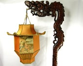 Chinese DRAGON Lamp Wood Floor Carved with Custom Pagoda Shade 1920s
