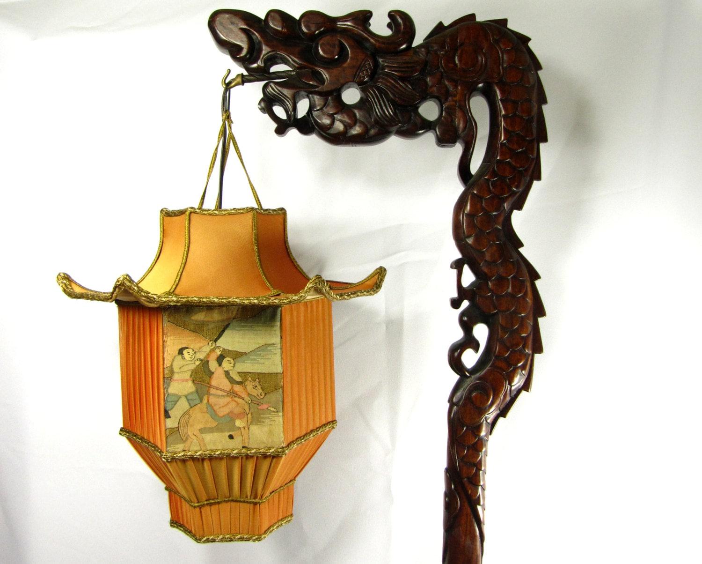 Chinese Dragon Lamp Wood Floor Carved Custom Pagoda Shade